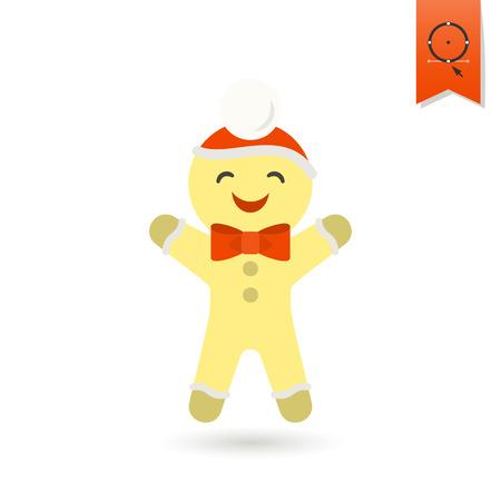 gingerbread cake: Gingerbread Man. Colorful. Single Flat Icon