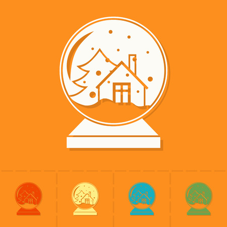 christmas snow globe: Christmas Snow Globe. Colorful. Single Flat Icon