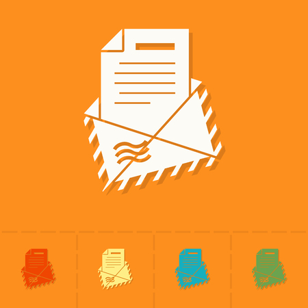 envelope icon: Christmas Envelope. Colorful. Single Flat Icon Stock Photo