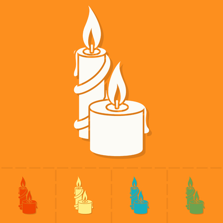 candlelight: Christmas Candles. Colorful. Single Flat Icon Stock Photo