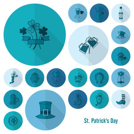 quatrefoil: Saint Patricks Day Icon Set. Vector. Clean Work Minimum Points