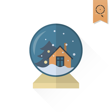 christmas snow globe: Christmas Snow Globe. Long Shadow. Retro Color. Single Flat Icon .