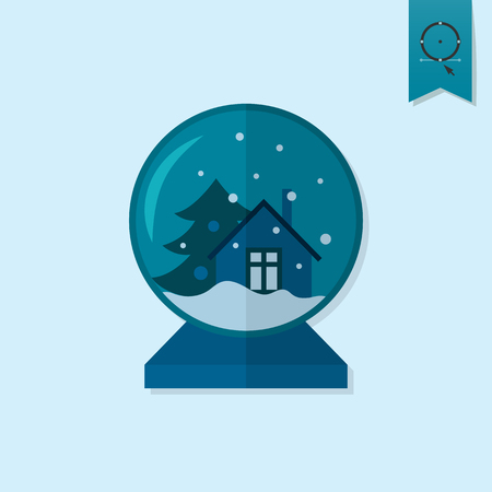 glass house: Christmas Snow Globe. Monochrome color. Single Flat Icon .