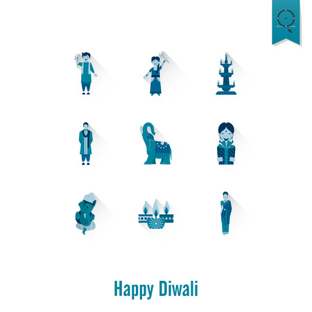 pooja: Diwali. Indian Festival Icons. Simple and Minimalistic Style.