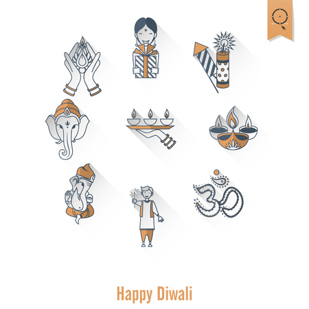india culture: Diwali. Indian Festival Icons. Simple and Minimalistic Style.