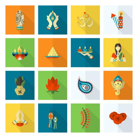 ganesha: Diwali. Indian Festival Icons. Simple and Minimalistic Style.
