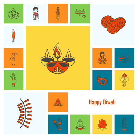 indian culture tradition: Diwali. Indian Festival Icons. Simple and Minimalistic Style.