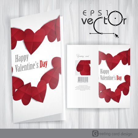 invitation barcode: Greeting Card Design, Template. Happy Valentines Day.  Vector Illustration. Eps 10