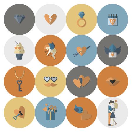 parejas romanticas: Sencillo Flat Icons Collection para el D�a de San Valent�n, boda, amor y Eventos rom�nticos. Vector Vectores