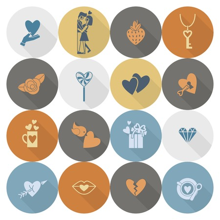 romantic couples: Simple Flat Icons Collection for Valentines Day, Wedding, Love and Romantic Events. Vector