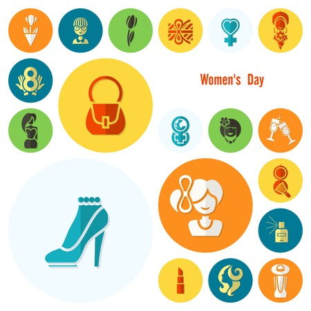 women's shoes: Design Elements for International Womens Day March 8, Icons.