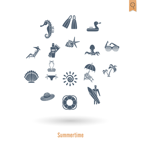 sailfish: Summer and Beach Simple Flat Icons, Travel and Vacation. Vector Illustration