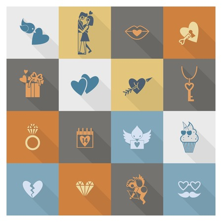 love bird: Simple Flat Icons Collection for Valentines Day, Wedding, Love and Romantic Events. Stock Photo