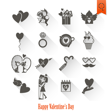romantic couples: Simple Flat Icons Collection for Valentines Day, Wedding, Love and Romantic Events. Stock Photo