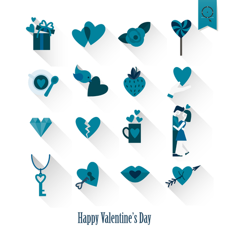 love symbols: Simple Flat Icons Collection for Valentines Day, Wedding, Love and Romantic Events. Stock Photo