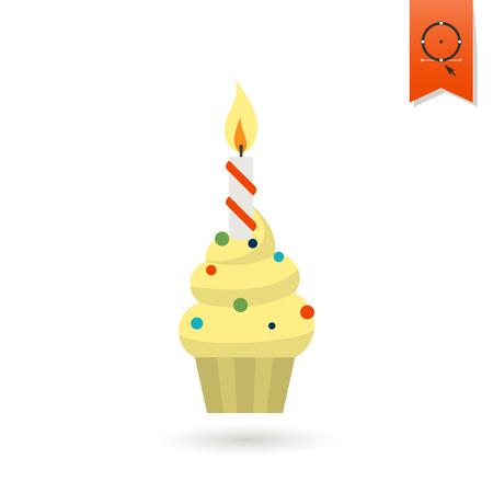 Icono del feliz cumpleaños. Magdalena con la vela. Simple, minimalista y plana estilo. Vistoso. Vector