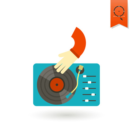 disk jockey: Happy Birthday Icon. Music Dj Party. Simple, Minimalistic and Flat Style. Colorful. Vector