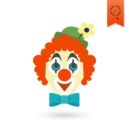 clown face: Happy Birthday Icon. Clown Face. Simple, Minimalistic and Flat Style. Colorful