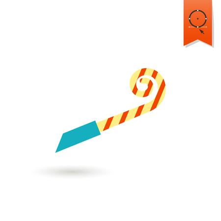 party horn blower: Happy Birthday Icon. Party Blower. Simple, Minimalistic and Flat Style. Colorful
