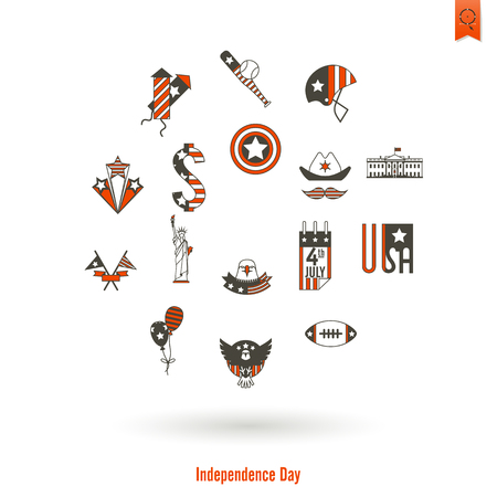 american football helmet collection: 4th of July, Independence Day of the United States, Simple Flat Icons. Illustration