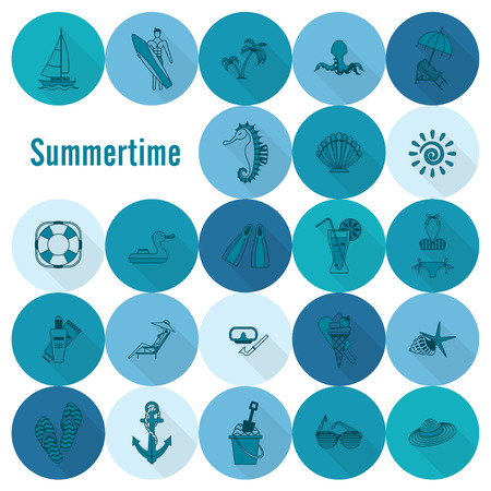sunburnt: Summer and Beach Simple Flat Icons, Travel and Vacation.