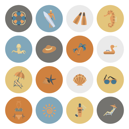 sunburnt: Summer and Beach Simple Flat Icons, Travel and Vacation. Vector Illustration