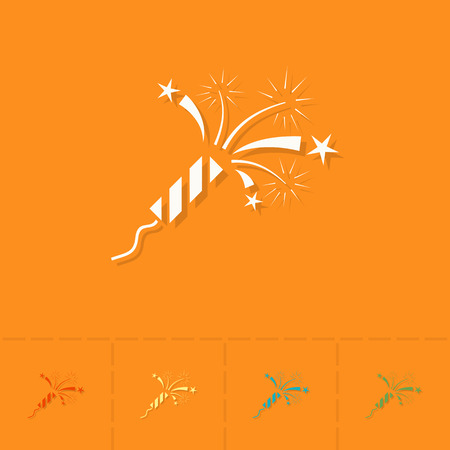orange sign: Happy Birthday Icon. Fireworks Rocket. Simple, Minimalistic and Flat Style. Colorful