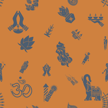 pooja: Diwali - Indian Festival Background. Seamless Pattern. Stock Photo