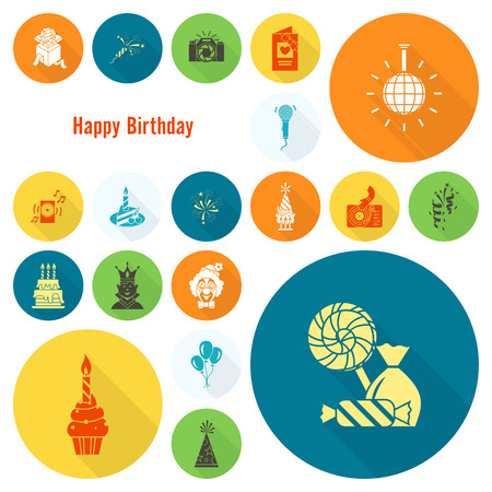 love explode: Happy Birthday Icons Set. Simple, Minimalistic and Flat Style. Colorful. Long Shadow.