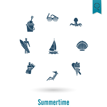 chaise: Summer and Beach Simple Flat Icons, Travel and Vacation. Vector Illustration