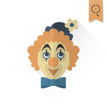 clown face: Happy Birthday Icon. Clown Face. Simple, Minimalistic and Flat Style. Retro Color. Long Shadow. Vector