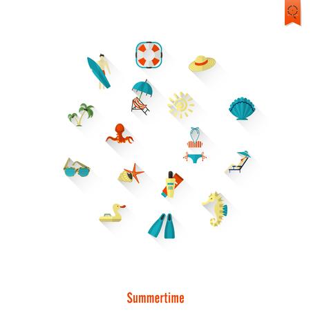 chaise: Summer and Beach Simple Flat Icons, Travel and Vacation.