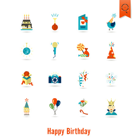 love explode: Happy Birthday Icons Set. Simple, Minimalistic and Flat Style. Colorful. Vector Illustration