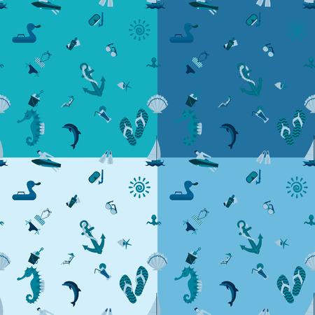 longue: Four Background in Different Colors, Summer and Beach. Vector Illustration