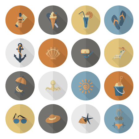 longue: Summer and Beach Simple Flat Icons, Travel and Vacation. Vector Illustration