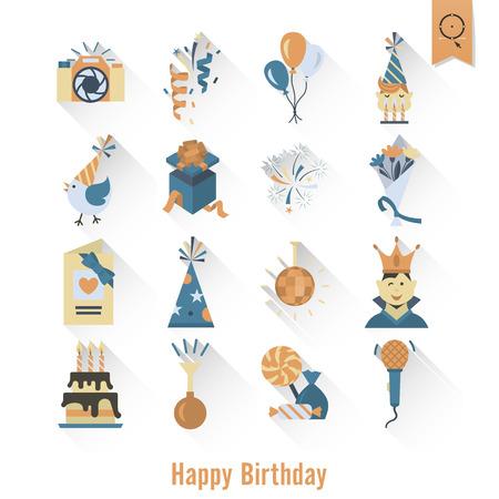 Happy Birthday Icons Set.