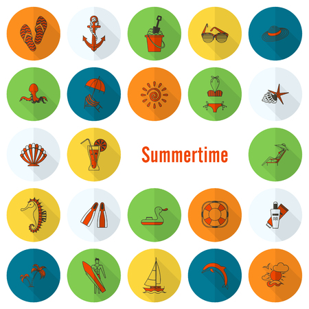 sunburned: Summer and Beach Simple Flat Icons, Travel and Vacation. Vector Illustration