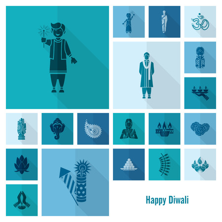 pooja: Diwali. Indian Festival Icons. Simple and Minimalistic Style. Vector
