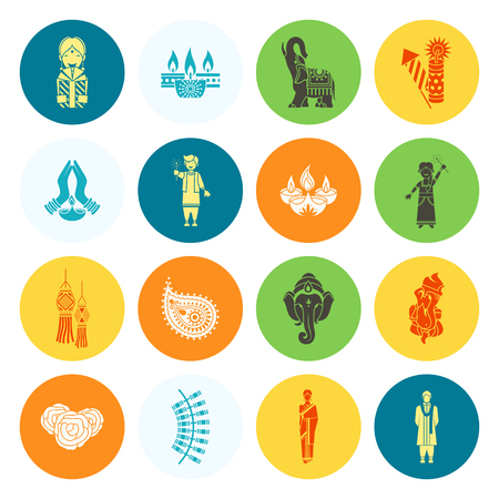 graphic icon: Diwali. Indian Festival Icons. Simple and Minimalistic Style. Vector