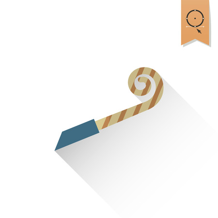 blower: Happy Birthday Icon. Party Blower. Simple, Minimalistic and Flat Style. Retro Color. Long Shadow.