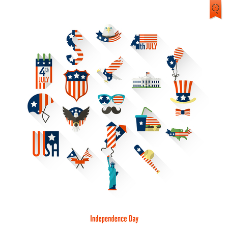 american football helmet collection: 4th of July, Independence Day of the United States, Simple Flat Icons. Vector