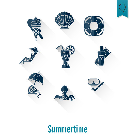 fur seal: Summer and Beach Simple Flat Icons, Travel and Vacation. Vector Illustration