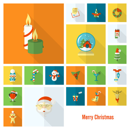 long socks: Christmas and Winter Icons Collection. Colorful. Long Shadow. Simple and Minimalistic Style. Vector Illustration
