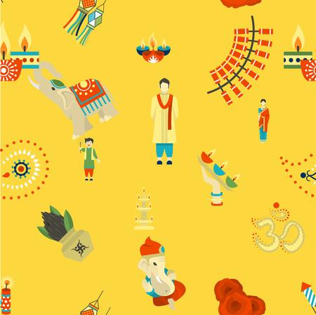 pooja: Diwali - Indian Festival Background. Seamless Pattern. Stock Photo