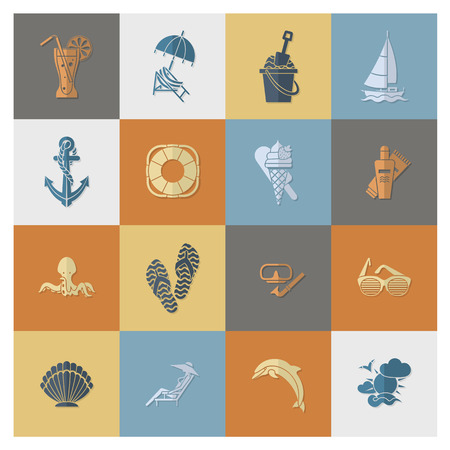 sunbath: Summer and Beach Simple Flat Icons, Travel and Vacation. Vector Illustration