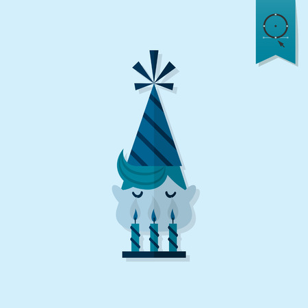 Happy Birthday Icon. Little Boy Blowing Out Candles. Simple, Minimalistic and Flat Style. Monochrome color. Vector