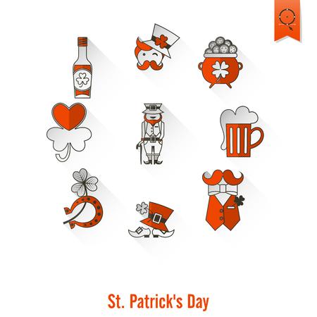 Saint Patricks Day Isolated Icon Set. Vector. Clean Work Minimum Points Illustration