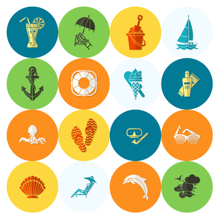 flippers: Summer and Beach Simple Flat Icons, Travel and Vacation. Vector Illustration