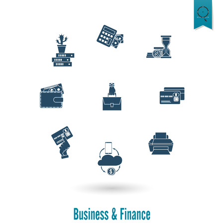 cashless payment: Business and Finance, Flat Icon Set. Simple and Minimalistic Style. Vector