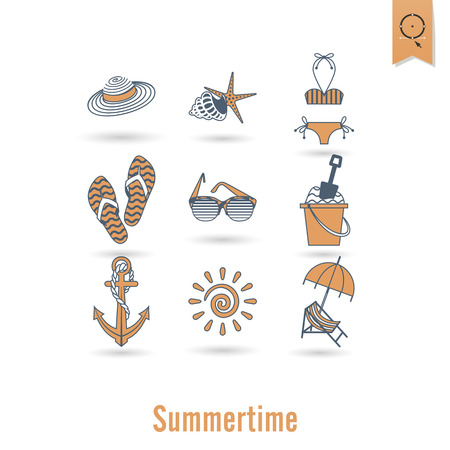 palma: Summer and Beach Simple Flat Icons, Travel and Vacation. Vector Illustration